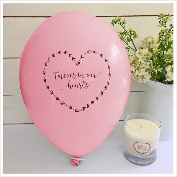 Forever In Our Hearts Funeral Remembrance Balloons - Pale Pink - Angel & Dove