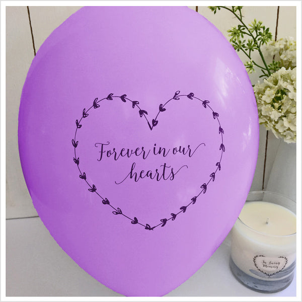 Forever In Our Hearts Funeral Remembrance Balloons - Purple - Angel & Dove