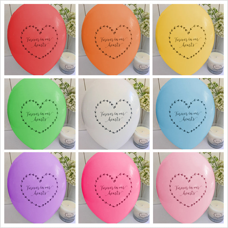 Forever In Our Hearts Funeral Remembrance Balloons - Rainbow Mix - Angel & Dove