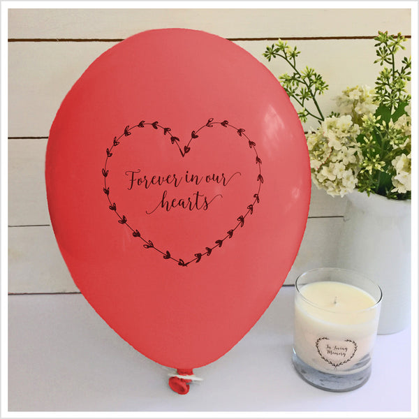Forever In Our Hearts Funeral Remembrance Balloons - Red - Angel & Dove