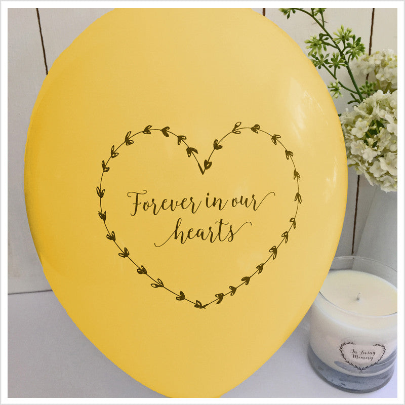 Forever In Our Hearts Funeral Remembrance Balloons - Yellow - Angel & Dove