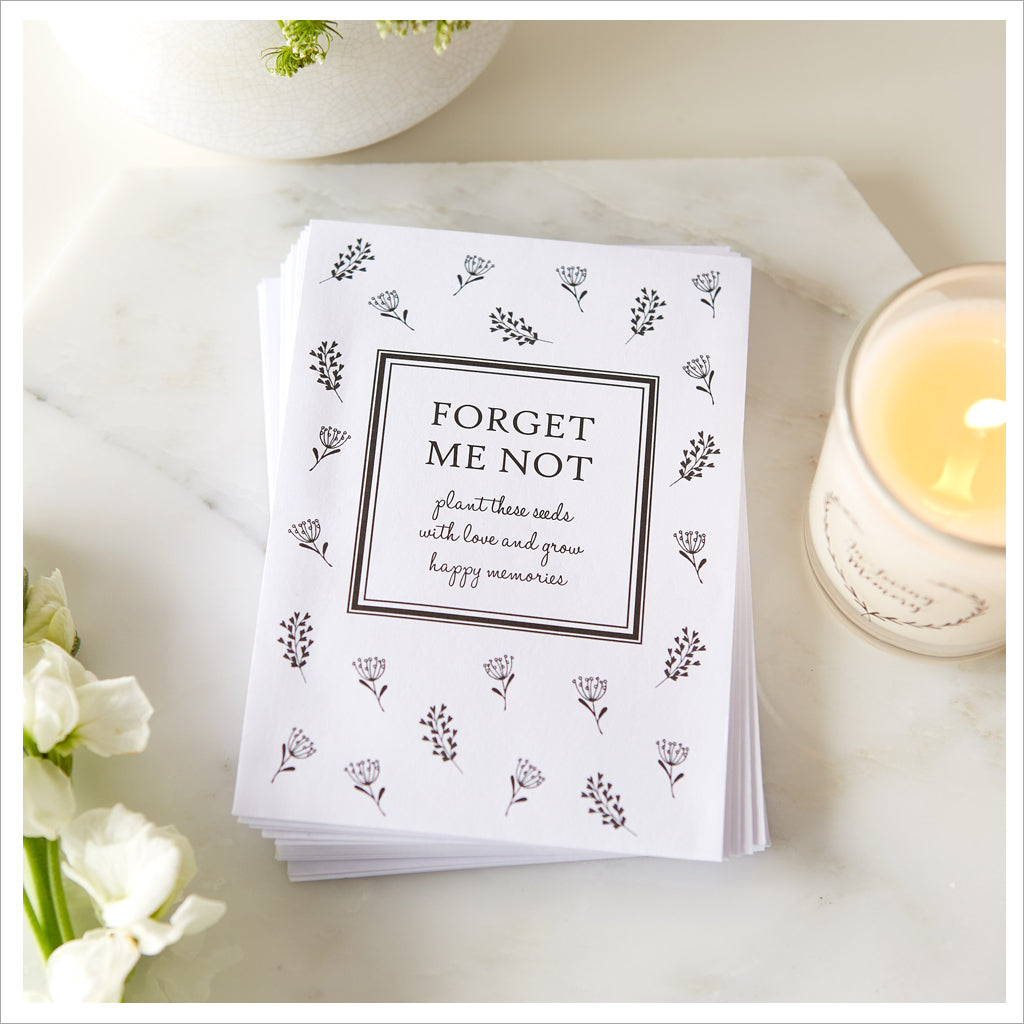 25 Unfilled Forget-Me-Not Seed Packet Funeral Favour Envelopes - Angel & Dove