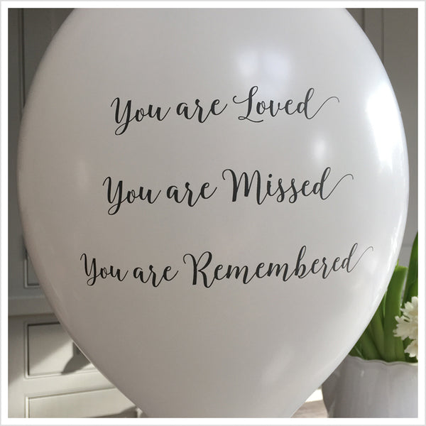 'You are Loved, Missed, Remembered' Funeral Remembrance Balloons - White - Angel & Dove