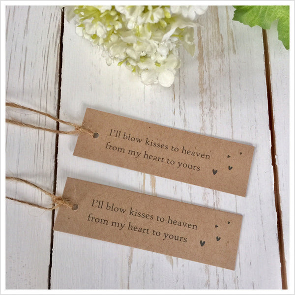 25 Kraft Bubble Funeral Favour Tags with Jute Twine - Angel & Dove