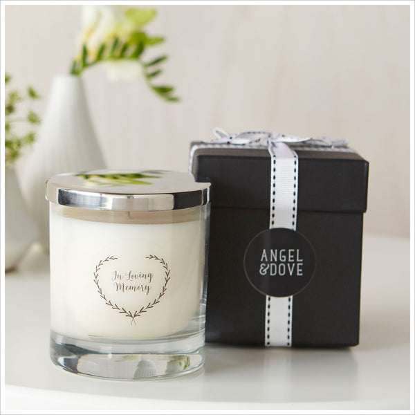 'In Loving Memory' Large 30cl Gift Boxed Funeral Remembrance Candle With Silver Lid - Angel & Dove