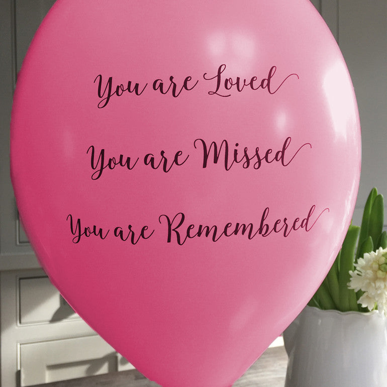 'You are Loved, Missed, Remembered' Funeral Remembrance Balloons - Bright Pink - Angel & Dove
