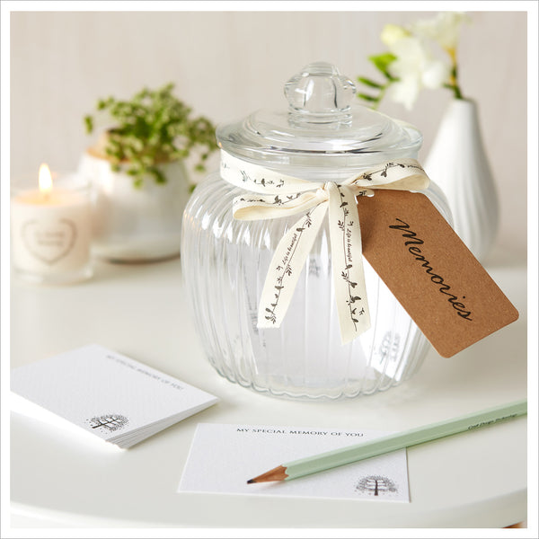 Glass Memory Jar & 50 Luxury Remembrance Cards for Funeral Memory Table - Angel & Dove