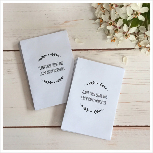 25 Mini 'Plant These Seeds And Grow Happy Memories' Unfilled Seed Packet Funeral Favour Envelopes - Angel & Dove