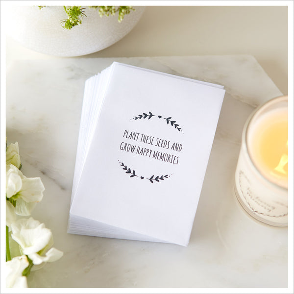 25 'Plant These Seeds And Grow Happy Memories' Mini Unfilled Seed Packet Funeral Favour Envelopes - Angel & Dove