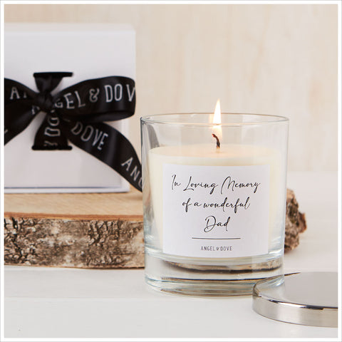 'In Loving Memory of a Wonderful Dad' Gift Boxed Remembrance Candle with Silver Lid - Angel & Dove