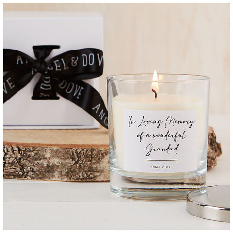 'In Loving Memory of a Wonderful Grandad' Gift Boxed Remembrance Candle with Silver Lid - Angel & Dove