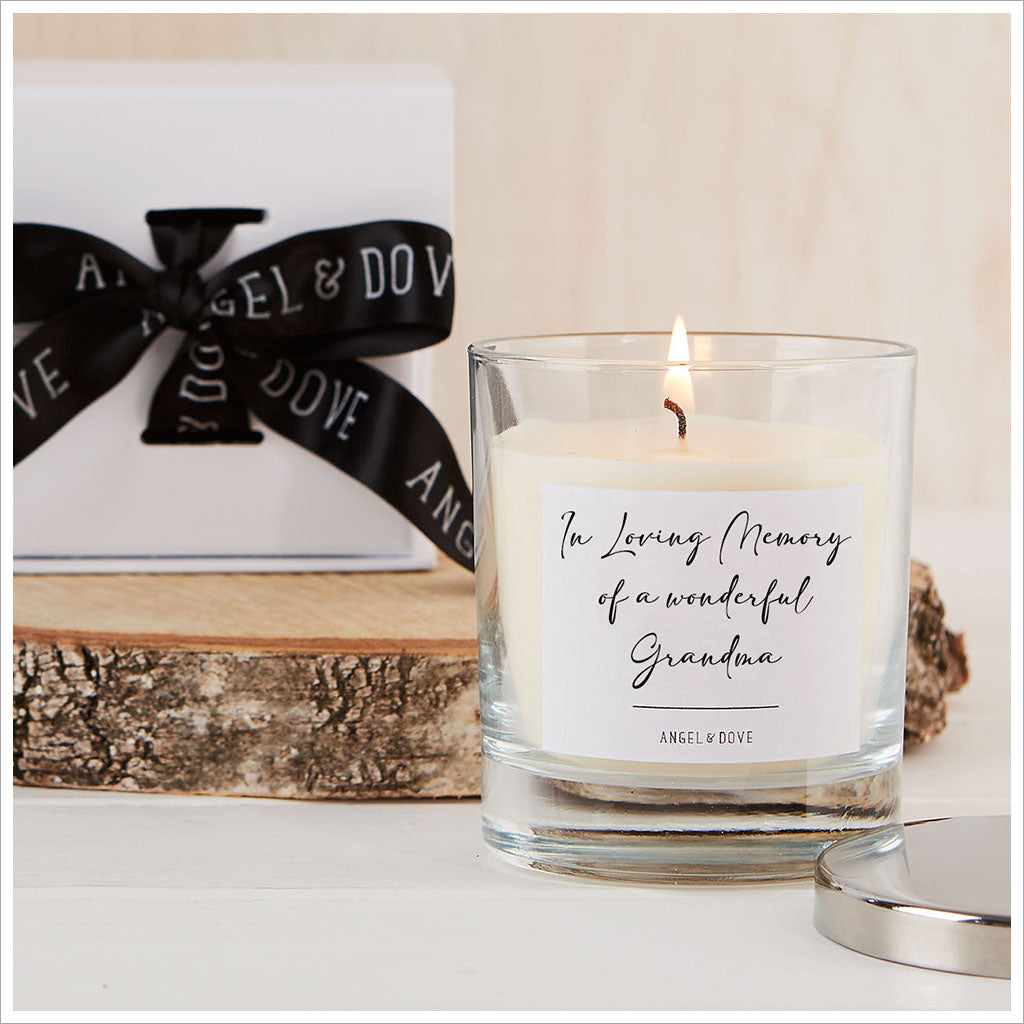 'In Loving Memory of a Wonderful Grandma' Gift Boxed Remembrance Candle with Silver Lid - Angel & Dove