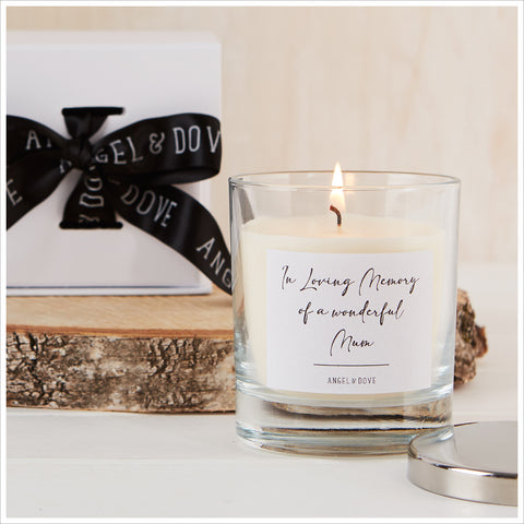 'In Loving Memory of a Wonderful Mum' Gift Boxed Remembrance Candle with Silver Lid - Angel & Dove
