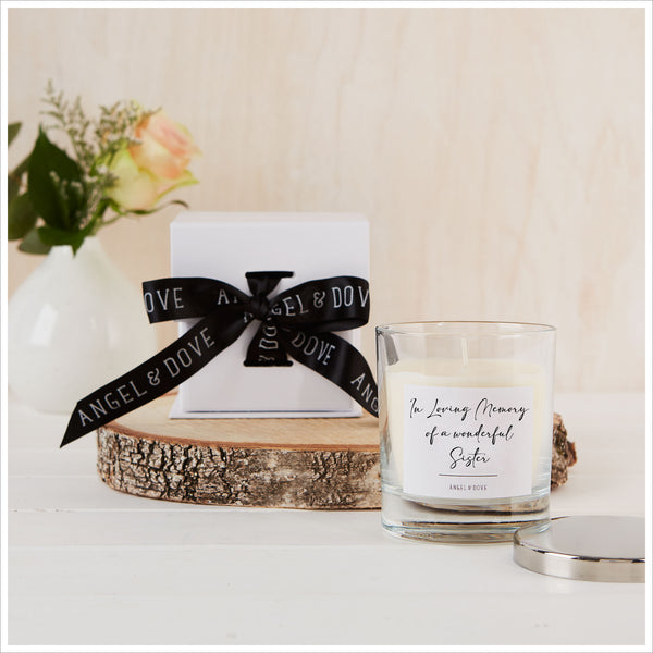 'In Loving Memory of a Wonderful Sister' Gift Boxed Remembrance Candle with Silver Lid - Angel & Dove
