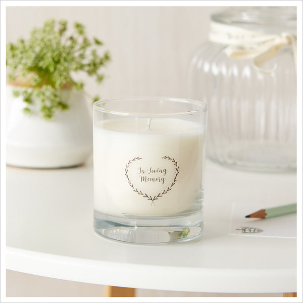 'In Loving Memory' Large Gift Boxed Funeral Remembrance Candle - Angel & Dove