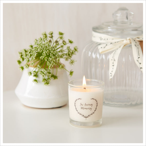 'In Loving Memory' Funeral Remembrance Votive Candle with Gift Bag & Card - Angel & Dove