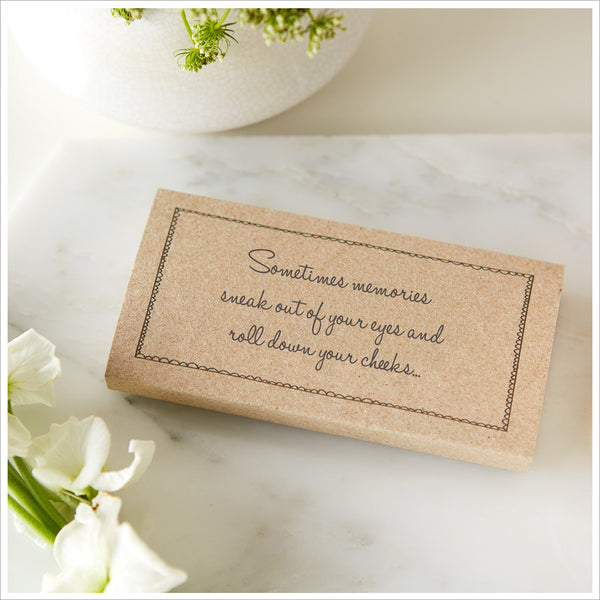 25 Kraft Funeral Tissue Wraps 'Sometimes Memories Sneak Out of Your Eyes' - Angel & Dove