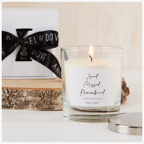 'Loved, Missed, Remembered' Gift Boxed Candle with Silver Lid - Angel & Dove