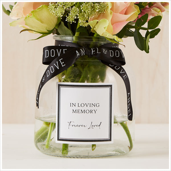 Medium 'In Loving Memory' 16cm Glass Vase for Memory Table - Angel & Dove