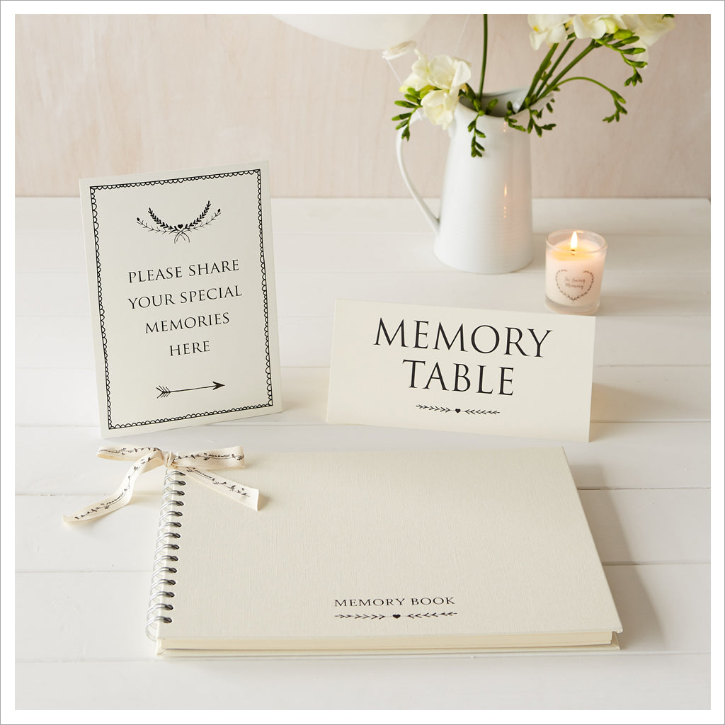 A4 Luxury Ivory Memory Book & 2 Sign Set for Funeral Memory Table - Angel & Dove