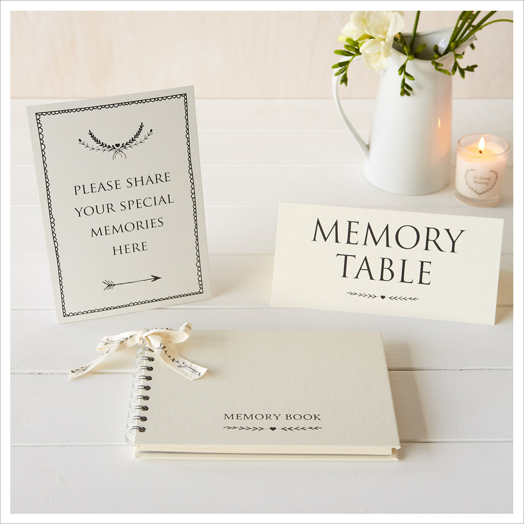 A5 Luxury Ivory Memory Book & 2 Sign Set for Funeral Memory Table - Angel & Dove