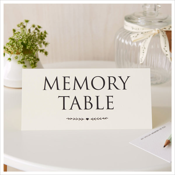 Set of 2 Signs: 'Please Share Your Special Memories Here' & 'Memory Table' - Ivory - Angel & Dove