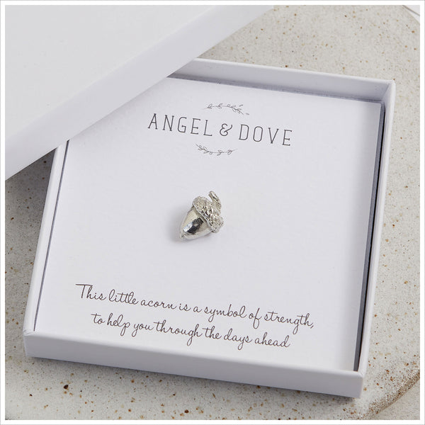 Pewter Acorn 'Strength' Pocket Charm Sympathy Gift with Bag & Card - Angel & Dove