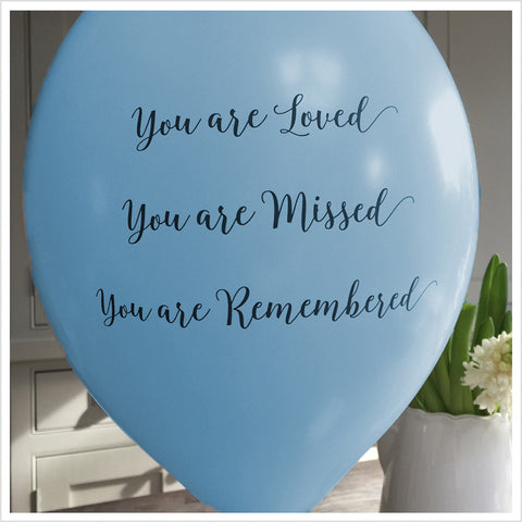 'You are Loved, Missed, Remembered' Funeral Remembrance Balloons - Blue - Angel & Dove