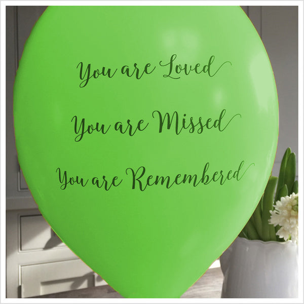 'You are Loved, Missed, Remembered' Funeral Remembrance Balloons - Green - Angel & Dove
