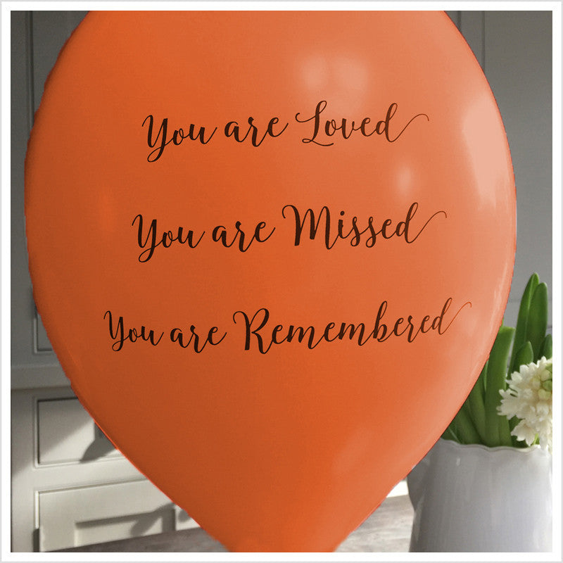 'You are Loved, Missed, Remembered' Funeral Remembrance Balloons - Orange - Angel & Dove