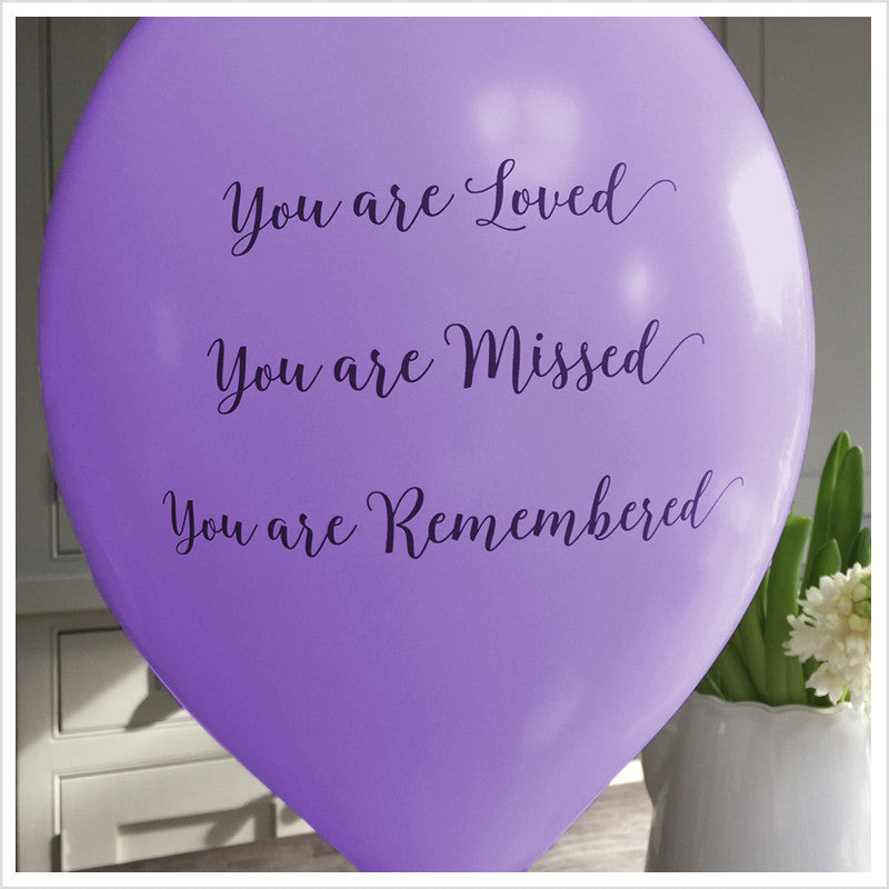 'You are Loved, Missed, Remembered' Funeral Remembrance Balloons - Purple - Angel & Dove