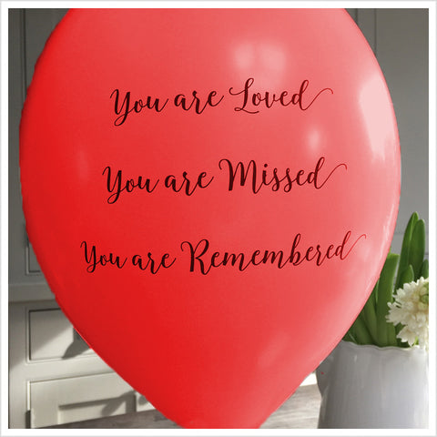 'You are Loved, Missed, Remembered' Funeral Remembrance Balloons - Red - Angel & Dove