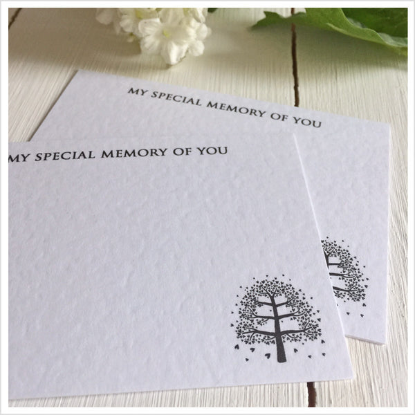 25 'My Special Memory of You' A7 Luxury White Textured Funeral Remembrance Cards - Angel & Dove