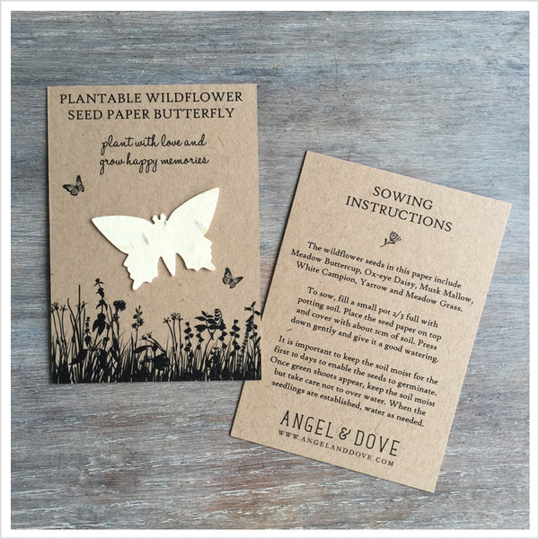 10 Plantable Wildflower Seed Paper Butterfly Funeral Favours - Angel & Dove