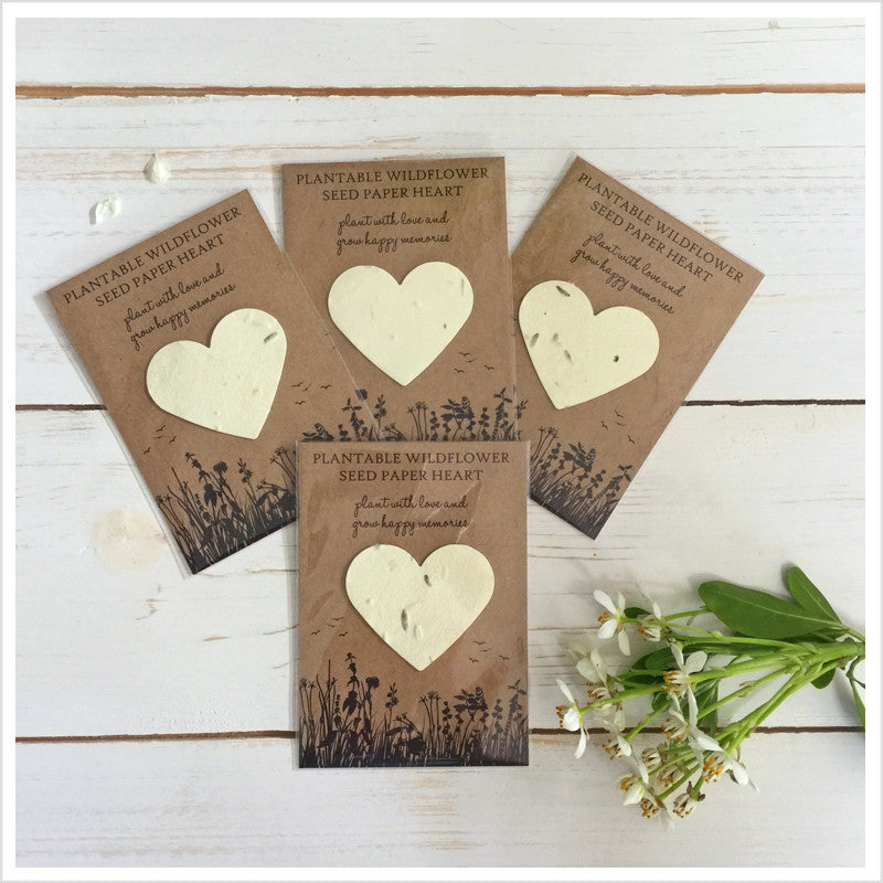 10 Plantable Wildflower Seed Paper Heart Funeral Favours Angel Dove