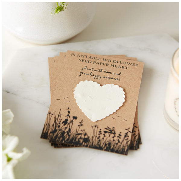 10 Plantable Wildflower Seed Paper Heart Funeral Favours - Angel & Dove