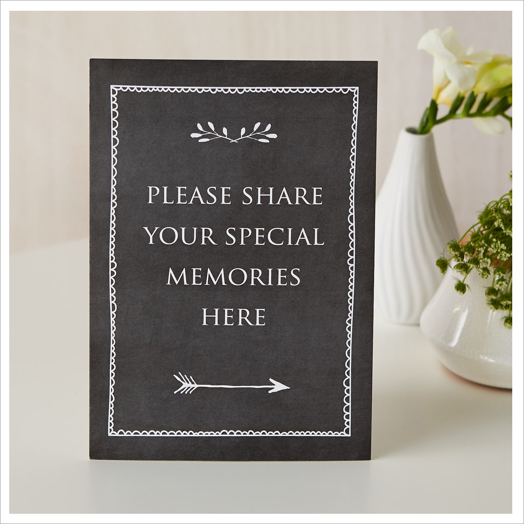'Please Share Your Special Memories Here' Card Sign - Black Chalkboard Effect - Angel & Dove