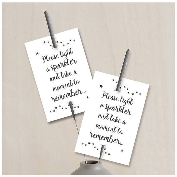 25 White Remembrance Sparkler Favour Cards (Sparklers not included) - Angel & Dove