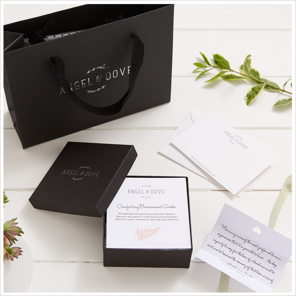 30 Comforting Bereavement Quotes in Gift Box with Bag & Card - Angel & Dove