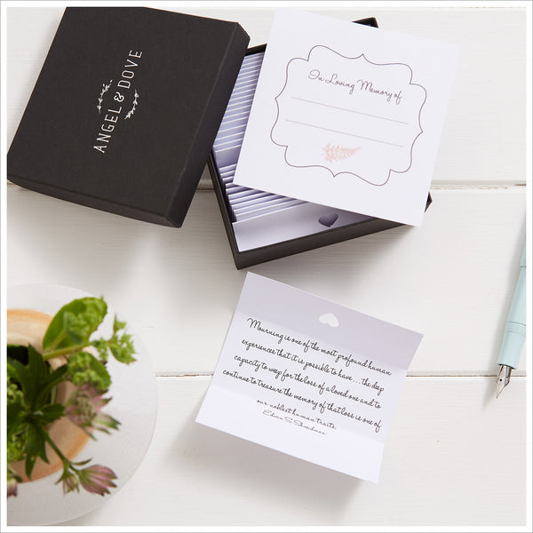 30 Comforting Bereavement Quotes in Gift Box with Bag & Card - A Thoughtful Sympathy Gift - Angel & Dove