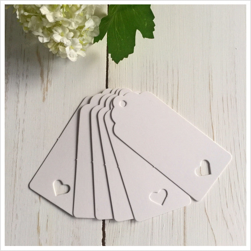 25 White Heart Card Balloon Message Tags - Angel & Dove