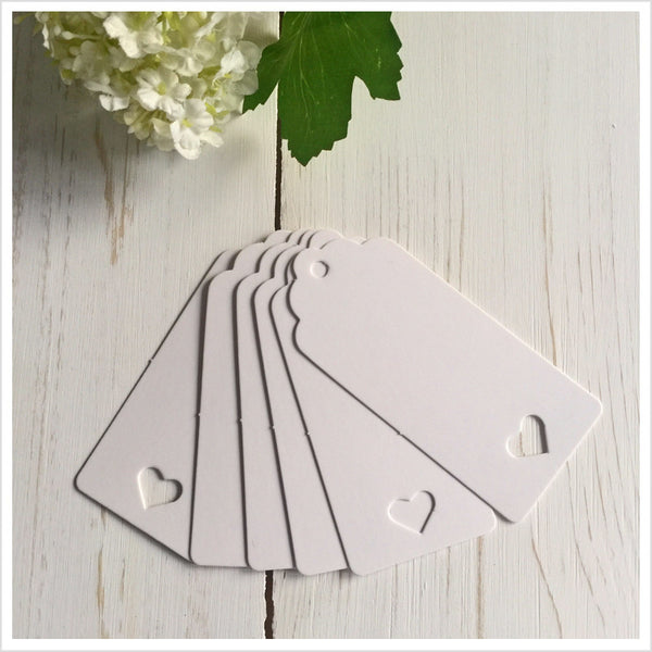 White Heart Card Balloon Message Tags - Angel & Dove