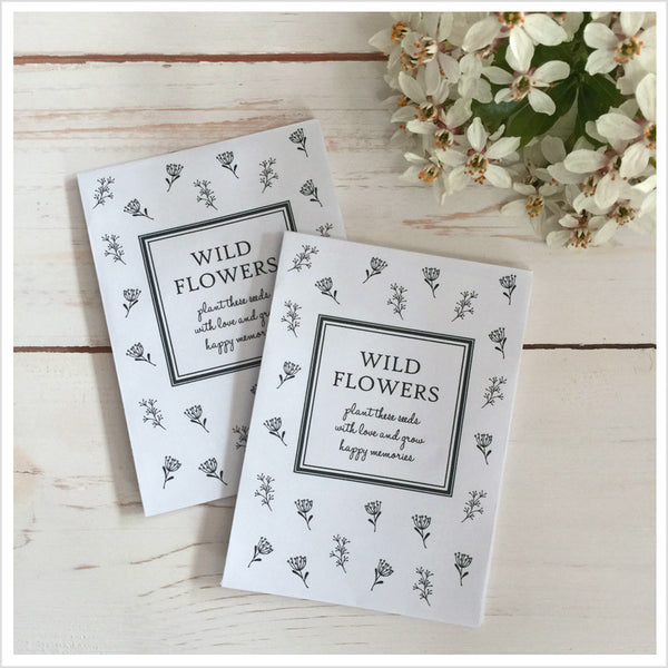 25 Unfilled Wildflower Seed Packet Funeral Favour Envelopes - Angel & Dove