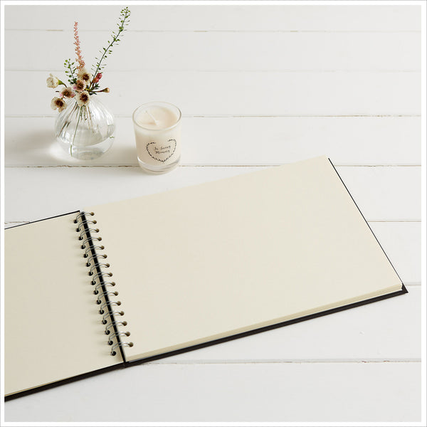 Gift Boxed A4 Luxury Black Memory Condolence Book with Gift Card - Angel & Dove