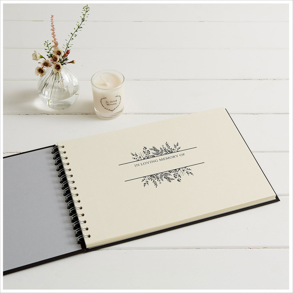 Condolence Book 144 Pages Black Linen Cover with Satin Bow