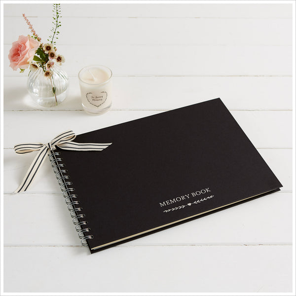 A4 Luxury Black Memory Condolence Book with Ribbon for Funeral Memory Table - Angel & Dove