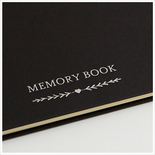 A5 Luxury Black Memory Book & 2 Sign Set for Funeral Memory Table - Angel & Dove