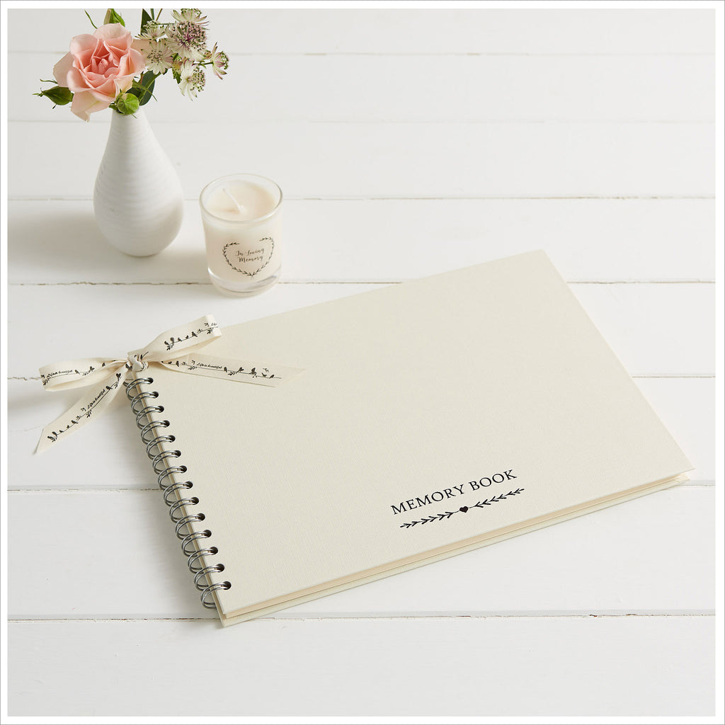 A4 Luxury Ivory Memory Condolence Book for Funeral Memory Table - Angel & Dove