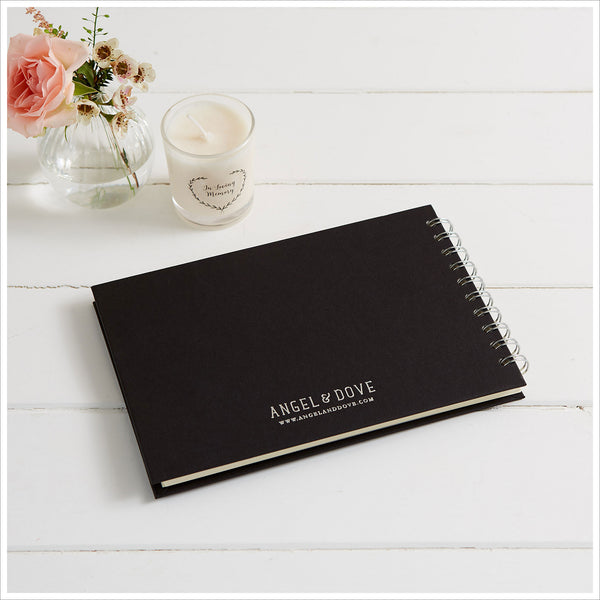 Gift Boxed A5 Luxury Black Memory Condolence Book with Gift Card - Angel & Dove