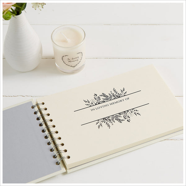 A5 Luxury Ivory Memory Condolence Book for Funeral Memory Table - Angel & Dove